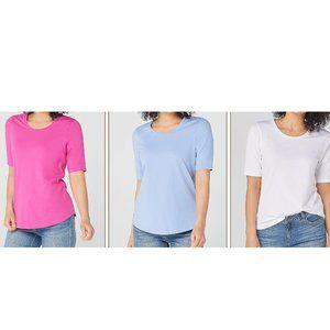 XXS Denim & Co. Essentials AnyWear Tops T Shirt 3